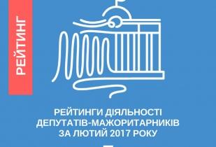 Рейтинг діяльності 88 депутатів-мажоритарників за лютий 2017 року