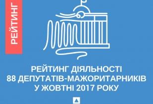 Рейтинг діяльності 88 депутатів-мажоритарників у жовтні 2017 року