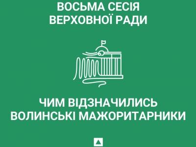 Восьма сесія Верховної Ради: чим відзначились волинські мажоритарники