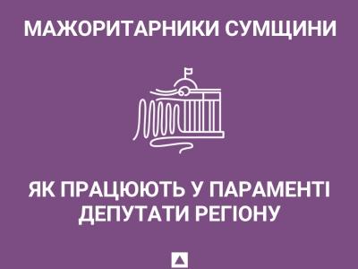 Як працюють у параменті мажоритарники з Сумської області